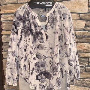 Rebecca Taylor black and white floral silk blouse